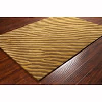 Artist's Loom Hand-tufted Contemporary Abstract Brown Wool Rug (8'x10')