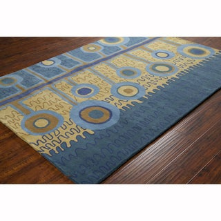 Artist's Loom Hand-tufted Transitional Abstract Blue Wool Rug (8'x10')
