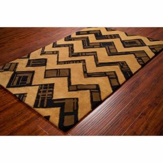 Artist's Loom Hand-tufted Contemporary Geometric Brown/Black Wool Rug (8'x10')