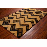 Artist's Loom Hand-tufted Contemporary Geometric Brown/Black Wool Rug (8'x10')