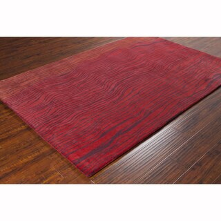 Artist's Loom Hand-tufted Transitional Abstract Red Wool Rug (8'x10')