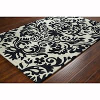 Artist's Loom Hand-tufted Transitional Floral White/Black Wool Rug (8'x10')