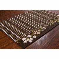 Artist's Loom Hand-tufted Transitional Floral Brown Wool Rug (8'x10')