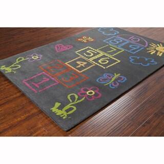 Artist's Loom Hand-tufted Contemporary Kids Grey Wool Rug (8'x10')