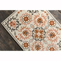 Artist's Loom Hand-tufted Transitional Floral White Wool Rug (8'x10')
