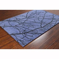 Artist's Loom Hand-tufted Transitional Floral Blue Wool Rug (8'x10')