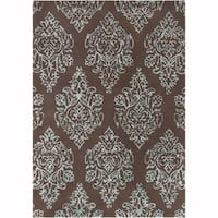 Artist's Loom Hand-tufted Transitional Abstract Pattern Brown/Blue Wool Rug (8'x10')