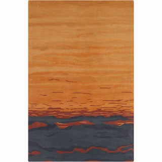 Artist's Loom Hand-tufted Transitional Abstract Orange-Grey Wool Rug (8'x10')