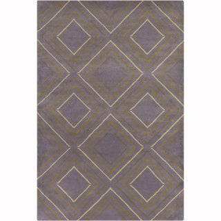 Artist's Loom Hand-tufted Contemporary Geometric Grey-Green Wool Rug (8'x10')