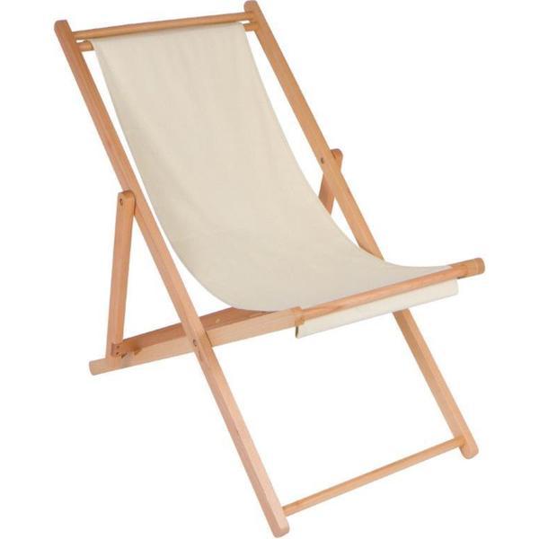 "27"" Adjustable Folding Wood Cabana Beach Chair by Trademark Innovations (Cream)"