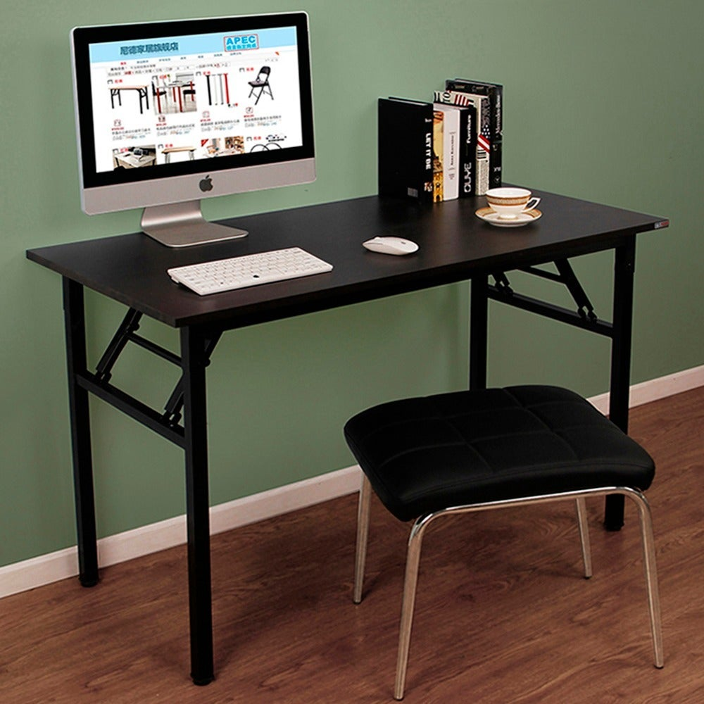 "Need Computer Desk Office Desk 49"" Folding Table Computer Table Workstation  No Install Needed, Black Brown"