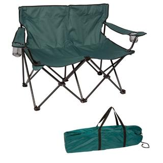 """Loveseat Style Double Camp Chair with Steel Frame by Trademark Innovations (Dark Green, 31.5""""H)"""