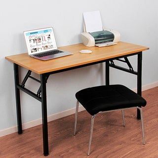 """Need Computer Desk Office Desk 55"""" Folding Table Computer Table Workstation No Install Needed, Teak"""