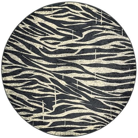 LR Home Adana Black and White Olefin Round Indoor Rug (6'2 Round) - 6' x 6'