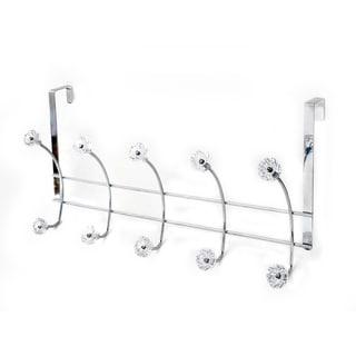 Crystalline Chrome 5-Hook Over The Door Rack