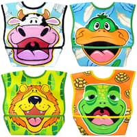 Dexbaby Big Mouth Waterproof Dura-Bib 4 Pack (Lion, Cow, Duck, Turtle)