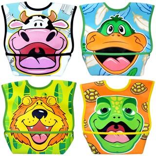 Dexbaby Big Mouth Waterproof Dura-Bib 4 Pack (Lion, Cow, Duck, Turtle)