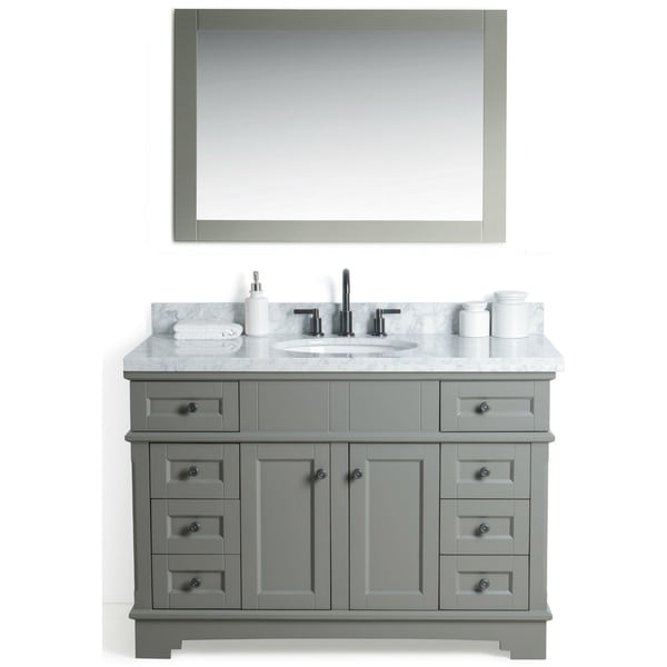 Legion Furniture Grey 48 Inch Sink Vanity With 36 Inch Mirror And Faucet Free Shipping Today