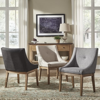 Voyager Button Tufted Slope Arm Linen Dining Chair (Set Of 2) By INSPIRE Q