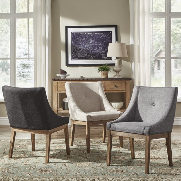 dining chairs in living room. Voyager Button Tufted Slope Arm Linen Dining Chair  Set of 2 by iNSPIRE Q