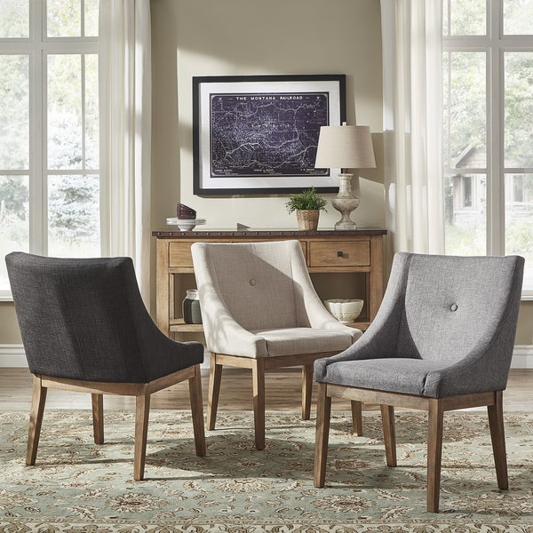 Shop Voyager Button Tufted Slope Arm Linen Dining Chair
