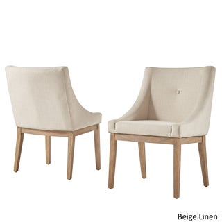 Voyager Button Tufted Slope Arm Linen Dining Chair (Set of 2) by iNSPIRE Q Artisan