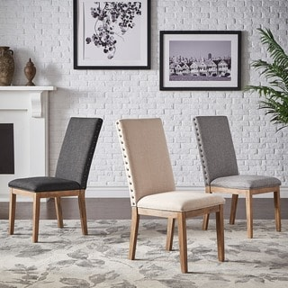 Link to Voyager Nailhead Accent Parson Linen Dining Chair (Set of 2) by iNSPIRE Q Artisan Similar Items in Dining Room & Bar Furniture
