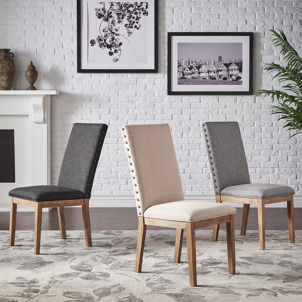 Voyager Nailhead Accent Parson Linen Dining Chair (Set of 2) by iNSPIRE Q Artisan