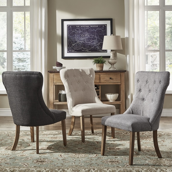 voyager button tufted linen dining chair set of 2 by inspire q artisan