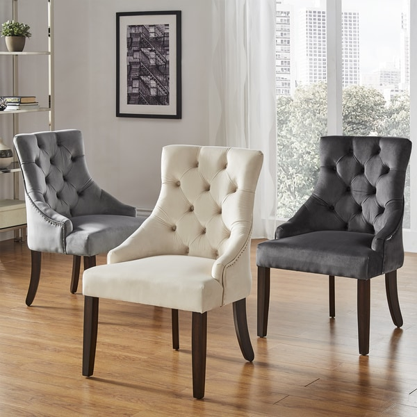 shop benchwright ii velvet button tufted wingback hostess chairs