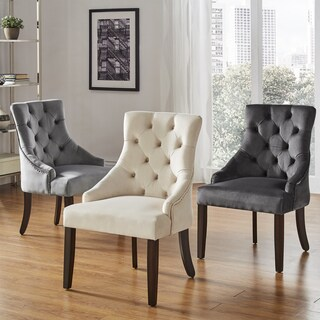 Benchwright II Velvet Button Tufted Wingback Hostess Chairs (Set of 2) by iNSPIRE Q Bold (3 options available)