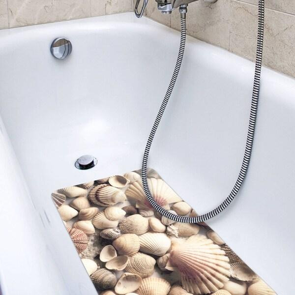 "Non Slip Bath Tub Mat 16/""x27/"" Brook Fabric Polyester PVC Printed"