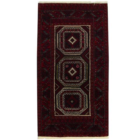 Handmade One-of-a-Kind Balouchi Wool Runner (Iran) - 3'7 x 6'1