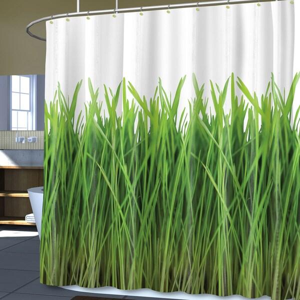 Grass Print PEVA Shower Curtain (70 x 72)