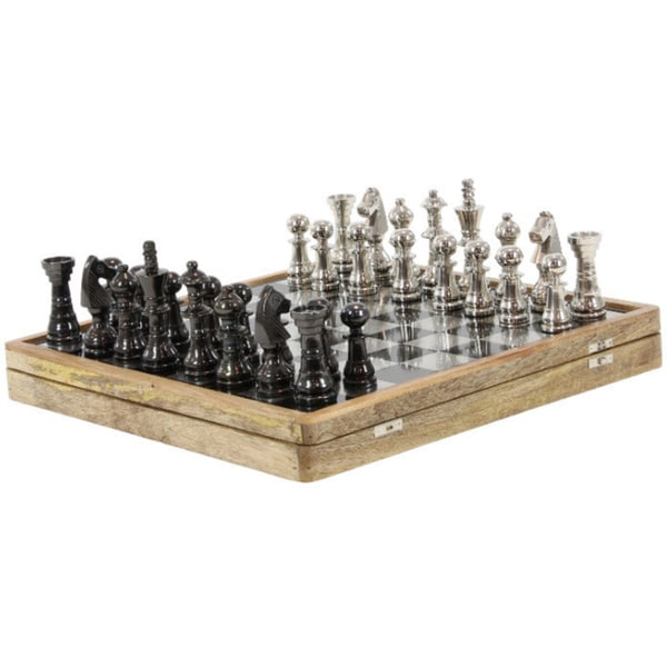 Wonderful Chess Set Game In Mango Wood, Black And Silver