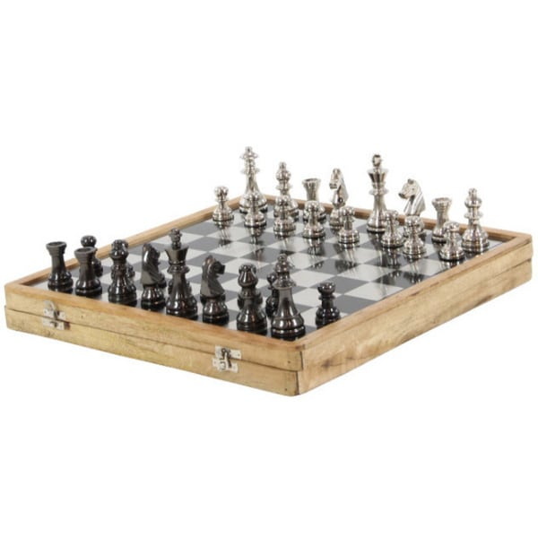 Luminous Aluminum Wood Chess Set, Brown