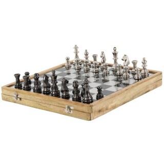 Luminous Aluminum Wood Chess Set, Brown