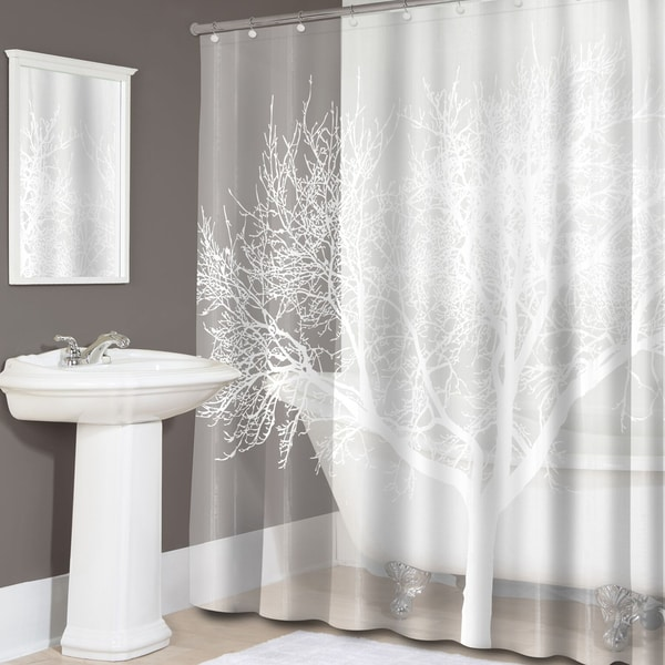 Pearl Tree Print PEVA Shower Curtain