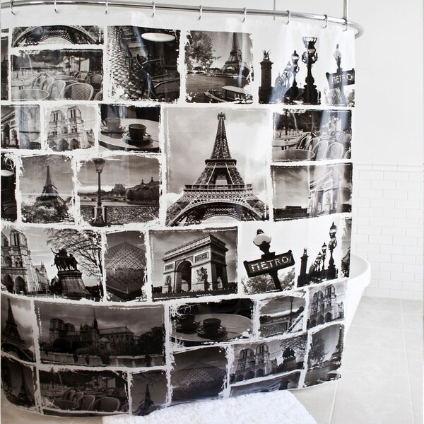 Paris Black PEVA Shower Curtain