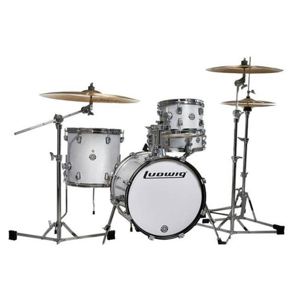 Ludwig Breakbeats 4 Piece Shell Pack w/ Riser - White Sparkle