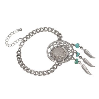 American Coin Treasures Buffalo Nickel Silvertone Dream Catcher Women's Coin Bracelet