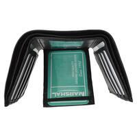 Swiss Marshal Men's Black Premium Leather Flap-down ID Window Trifold Wallet