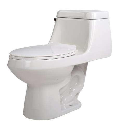 Anzzi Zeus White Ceramic Single-piece 1.28 GPF Single Flush Toilet