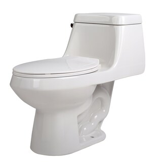 Anzzi Zeus White Ceramic Single-piece 1.28 GPF Single Flush Toilet