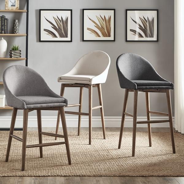 natoma walnut midcentury modern swivel wood stool set of 2 inspire q
