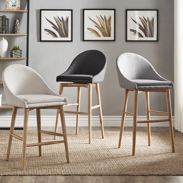 Natoma Natural Mid-Century Wood Stools (Set of 2) iNSPIRE Q Modern. Opens flyout.