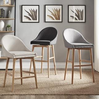 natoma natural midcentury modern swivel wood stool set of 2 inspire q