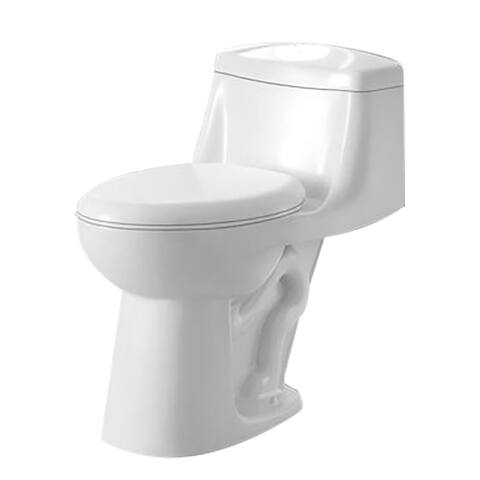 ANZZI Templar White Ceramic Single-piece 1.28 GPF Single Flush Toilet