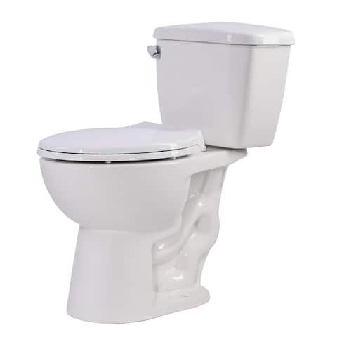 Anzzi Author White Ceramic 2-piece 1.28 GPF Single Flush Elongated Toilet