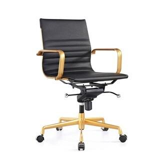 Design Lab MN Decade Black/ Goldtone Adjustable Office Chair (Set of 2)